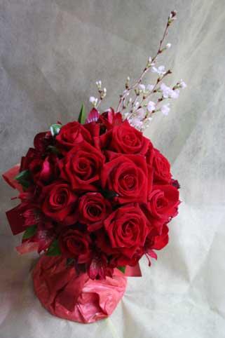 スタンド花 花束 花ギフト 花を贈る フラワーギフト 誕生日花赤バラ桜