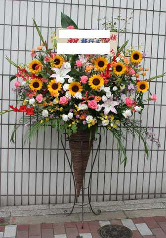 スタンド花 花束 花ギフト 花を贈る フラワーギフト 誕生日花himawari-yuri-ko-n